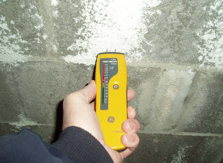 A home inspector using a moisture meter to check for mold growth conditions.
